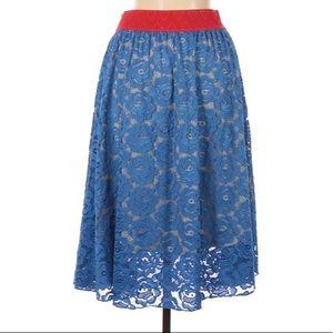 Lularoe Lola Skirt Blue Lace Overlay NWT